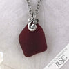 Rich Red Ocean Waves Sea Glass Pendant