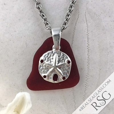 Bright Deep Red Sea Glass Pendant with a Sand Dollar Charm