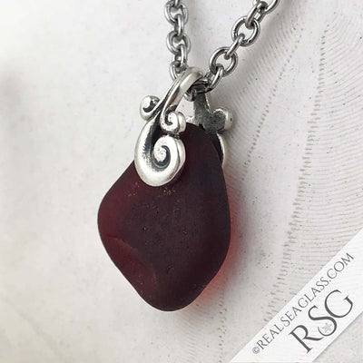 Thick, Glowing Red Ocean Waves Sea Glass Pendant