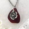 Huge Red Bottle Top Sea Glass Pendant with Rose Charm