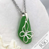 Big, Bright Kelly Green Sea Glass Pendant with a Butterfly Charm