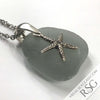 Oh My Gosh Gray Sea Glass Pendant with a Starfish Charm