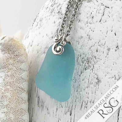 Flat, Frost Aqua Sea Glass Necklace with Sterling Silver Ocean Waves