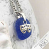 Cornflower Blue Sea Glass Necklace with Sterling Silver Comedy and Tragedy Theater Mask Charm