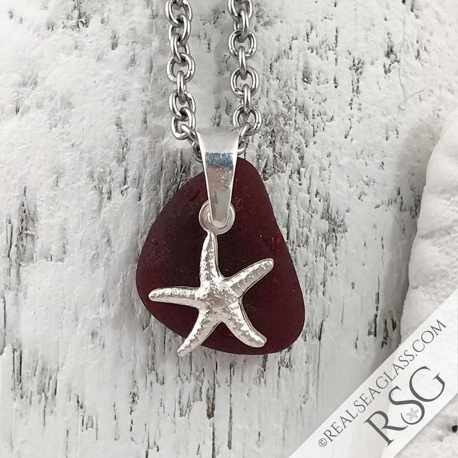 Bright Jelly Bean Red Sea Glass Pendant with Sterling Starfish Charm