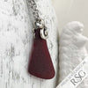 Large Triangle Taper Red Ocean Waves Sea Glass Pendant