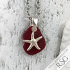 Petite Red Sea Glass Pendant with Sterling Starfish Charm