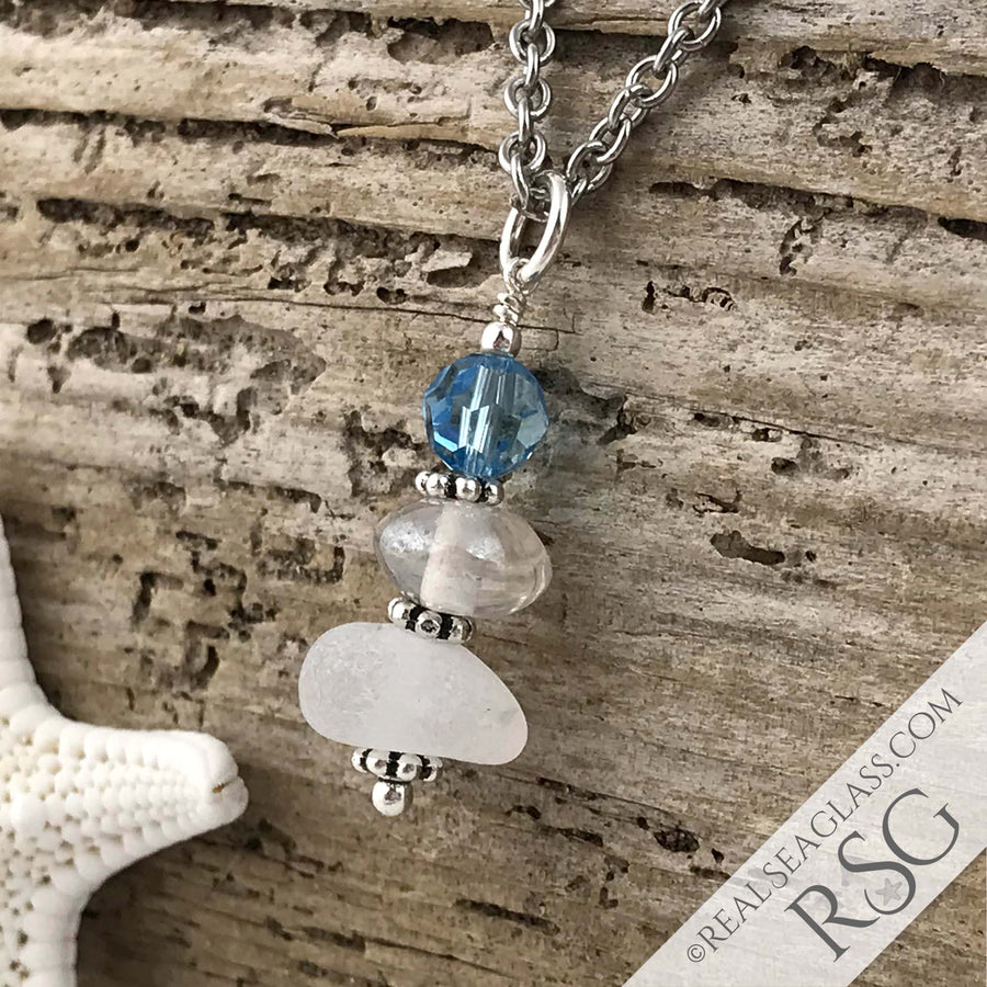 March Birthstone Crystal Clear Sea Glass Necklace with an Ice Aqua Swarovski Crystal
