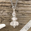 April Birthstone Crystal Clear Sea Glass Necklace with a Clear Swarovski Crystal