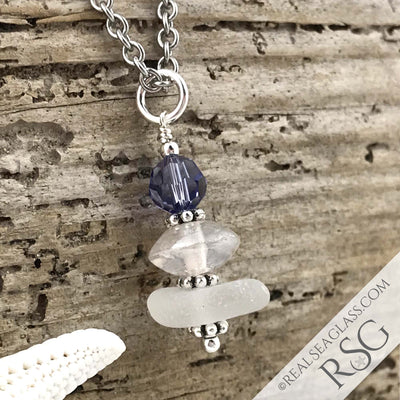December Birthstone Crystal Clear Sea Glass Necklace with a Grayed Blue Swarovski Crystal