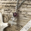 February Birthstone Crystal Clear Sea Glass Necklace with a Deep Purple Swarovski Crystal
