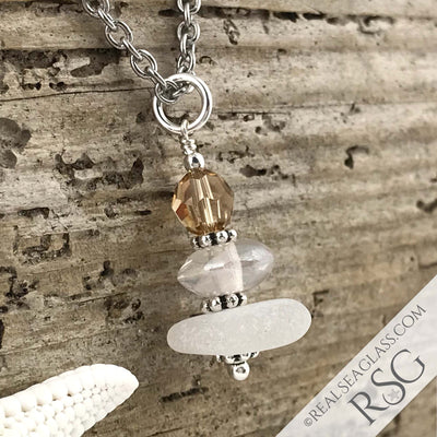 November Birthstone Crystal Clear Sea Glass Necklace with a Golden Swarovski Crystal