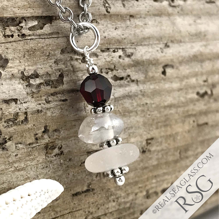 January Birthstone Crystal Clear Sea Glass Necklace with a Deep Red Swarovski Crystal