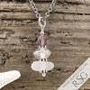 June Birthstone Crystal Clear Sea Glass Necklace with a Lavender Swarovski Crystal