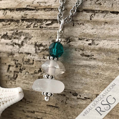May Birthstone Crystal Clear Sea Glass Necklace with a Deep Green Swarovski Crystal