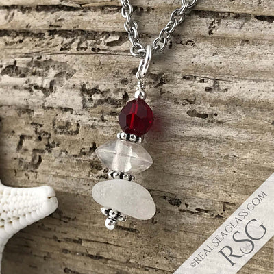 July Birthstone Crystal Clear Sea Glass Necklace with a Bright Red Swarovski Crystal