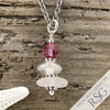 October Birthstone Crystal Clear Sea Glass Necklace with a Pink Swarovski Crystal