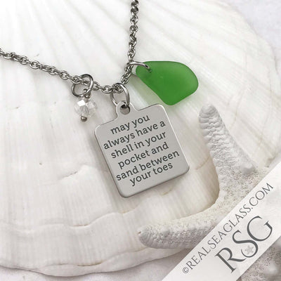 "Kelly Green ""May You Always Have a Shell in Your Hand and Sand Between Your Toes"" Necklace"