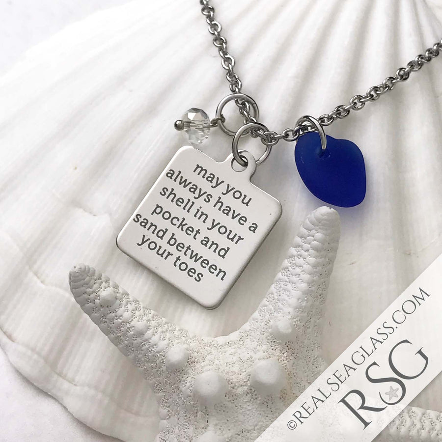 "Cobalt Blue ""May You Always Have a Shell in Your Hand and Sand Between Your Toes"" Necklace"