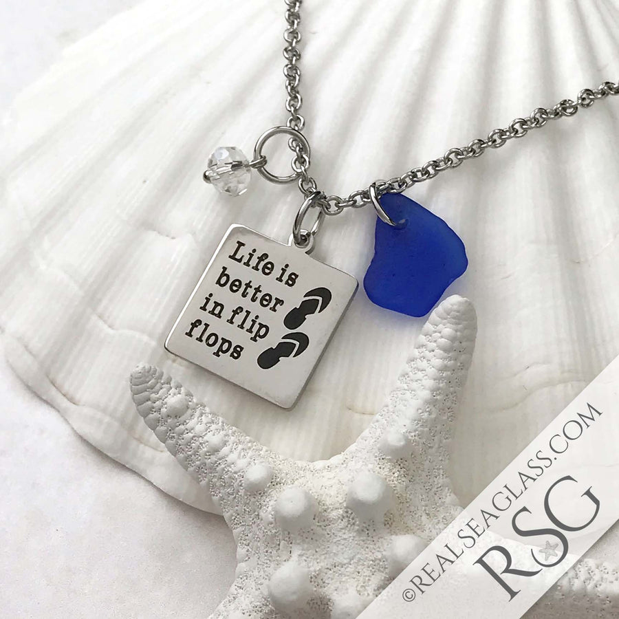"Cobalt Blue ""Life is Better in Flip Flops"" Necklace"