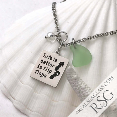 "Seafoam ""Life is Better in Flip Flops"" Necklace"