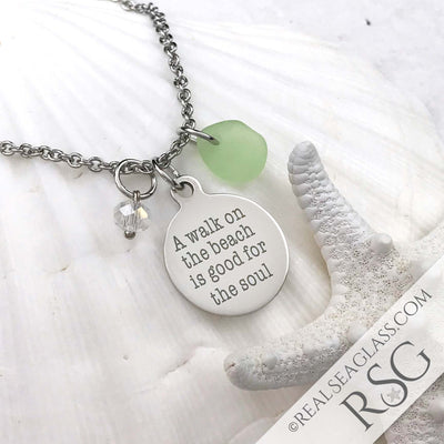 "Seafoam ""A Walk on the Beach is Good for the Soul"" Necklace"