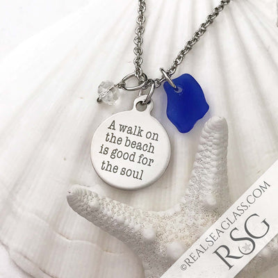 "Cobalt Blue ""A Walk on the Beach is Good for the Soul"" Necklace"