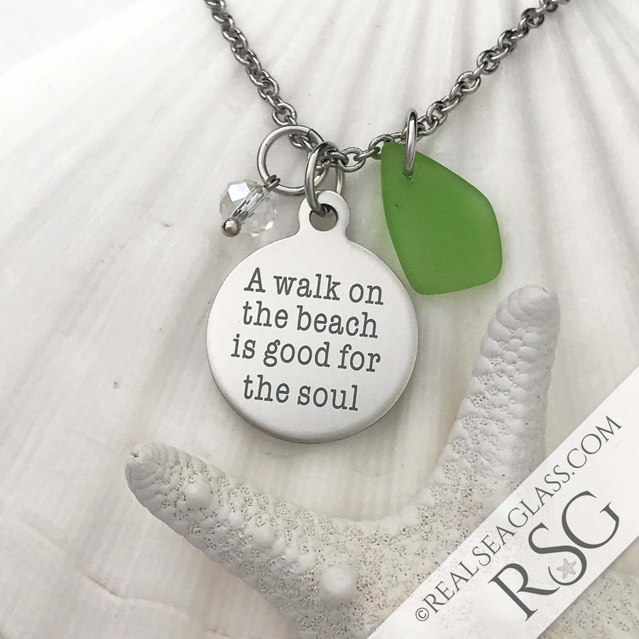 "Kelly Green ""A Walk on the Beach is Good for the Soul"" Necklace"