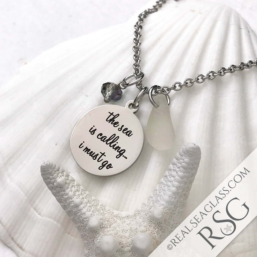 "Clear ""The Sea is Calling I Must Go"" Necklace"