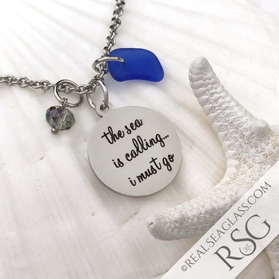 "Cobalt Blue ""The Sea is Calling I Must Go"" Necklace"