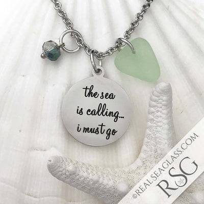 "Seafoam ""The Sea is Calling I Must Go"" Necklace"