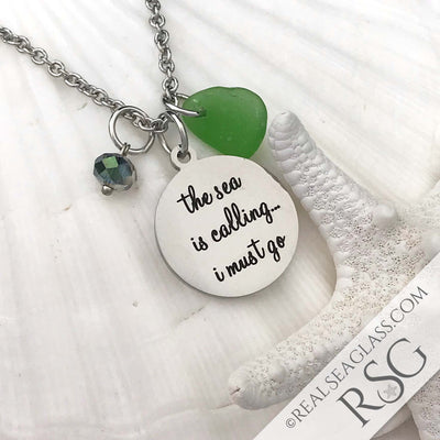 "Kelly Green ""The Sea is Calling I Must Go"" Necklace"