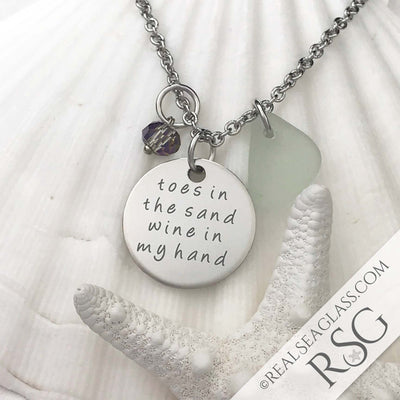 "Seafoam ""Toes in the Sand Wine in My Hand"" Necklace"