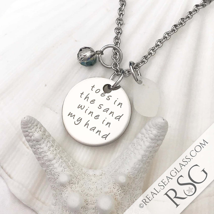 "Clear ""Toes in the Sand Wine in My Hand"" Necklace"