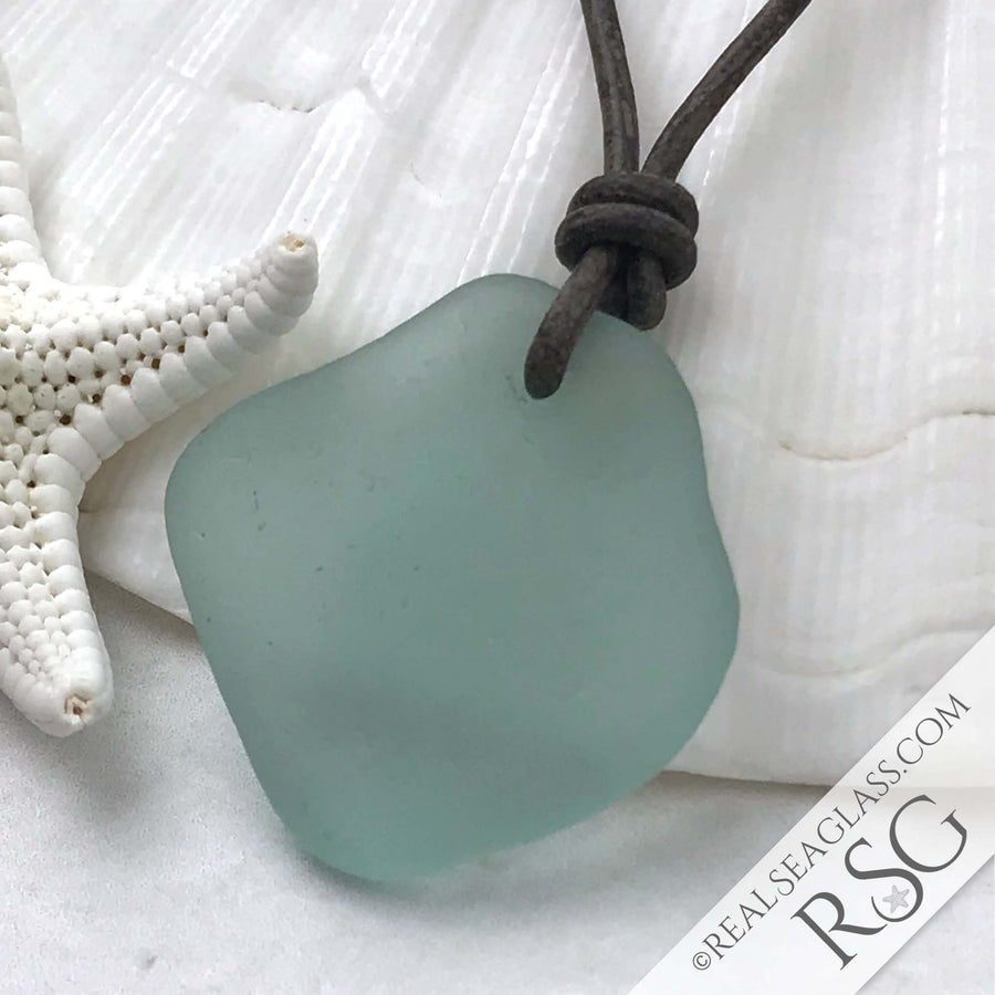 Diamond Shaped Ice Aqua Sea Glass Leather Necklace with Genuine Pearls