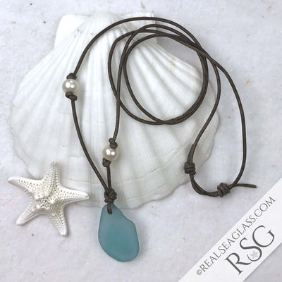 Bubbly Pure Aqua Sea Glass Leather Necklace with Genuine Pearls