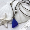 Triangle Bottle Bottom Cobalt Blue Sea Glass Leather Necklace with Genuine Pearls