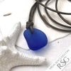 Bright Cobalt Blue Dimpled Bottle Bottom Sea Glass Leather Surfside Necklace