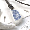 Swirled Blue & White Sea Shard Leather Surfside Necklace