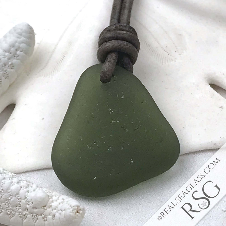 Clear True Olive Green Sea Glass Leather Surfside Necklace