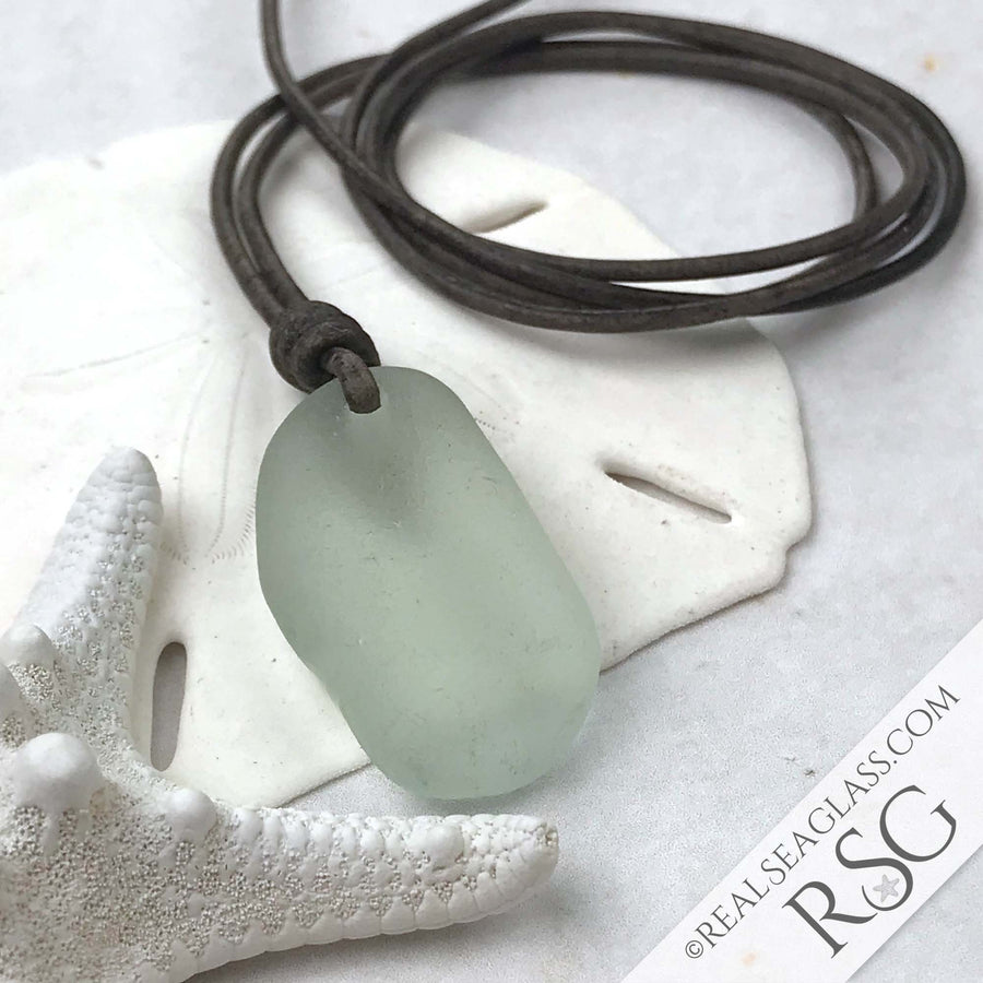 Light Seafoam Sea Glass Leather Surfside Necklace