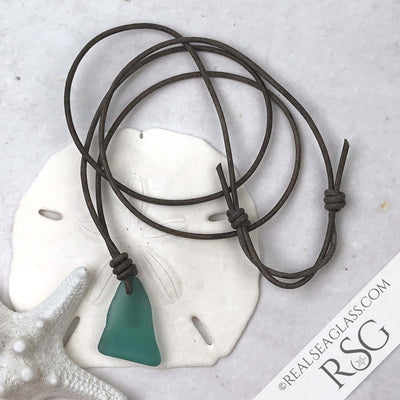 True Bright Teal Sea Glass Leather Surfside Necklace