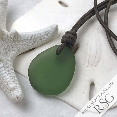Antique Olive Green Sea Glass Leather Surfside Necklace