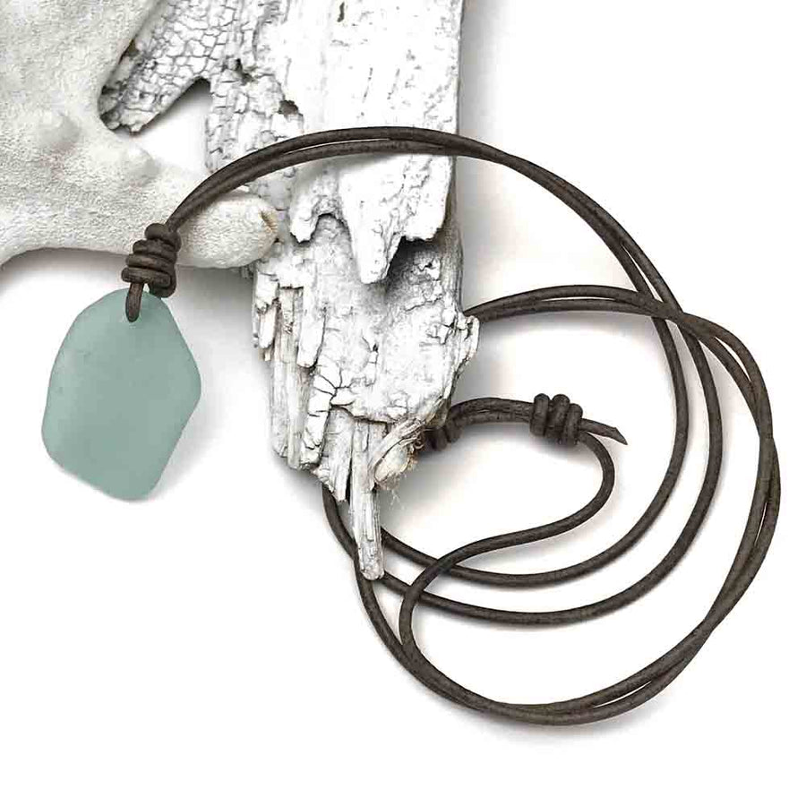Large Soft Blue Sea Glass Leather Necklace