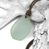 Extra Large Soft Blue Sea Glass Leather Necklace