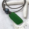 Deep Bright Kelly Green Sea Glass Leather Necklace with Genuine Pearl