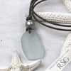 Soft Blue Sea Glass Leather Necklace with Genuine Pearl