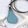 Huge Pure Aqua Sea Glass Leather Necklace with Genuine Pearl