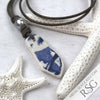 Classic Blue & White Sea Shard Leather Necklace with Genuine Pearl