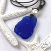 Huge Showy Cobalt Blue Sea Glass Leather Necklace with Genuine Pearl